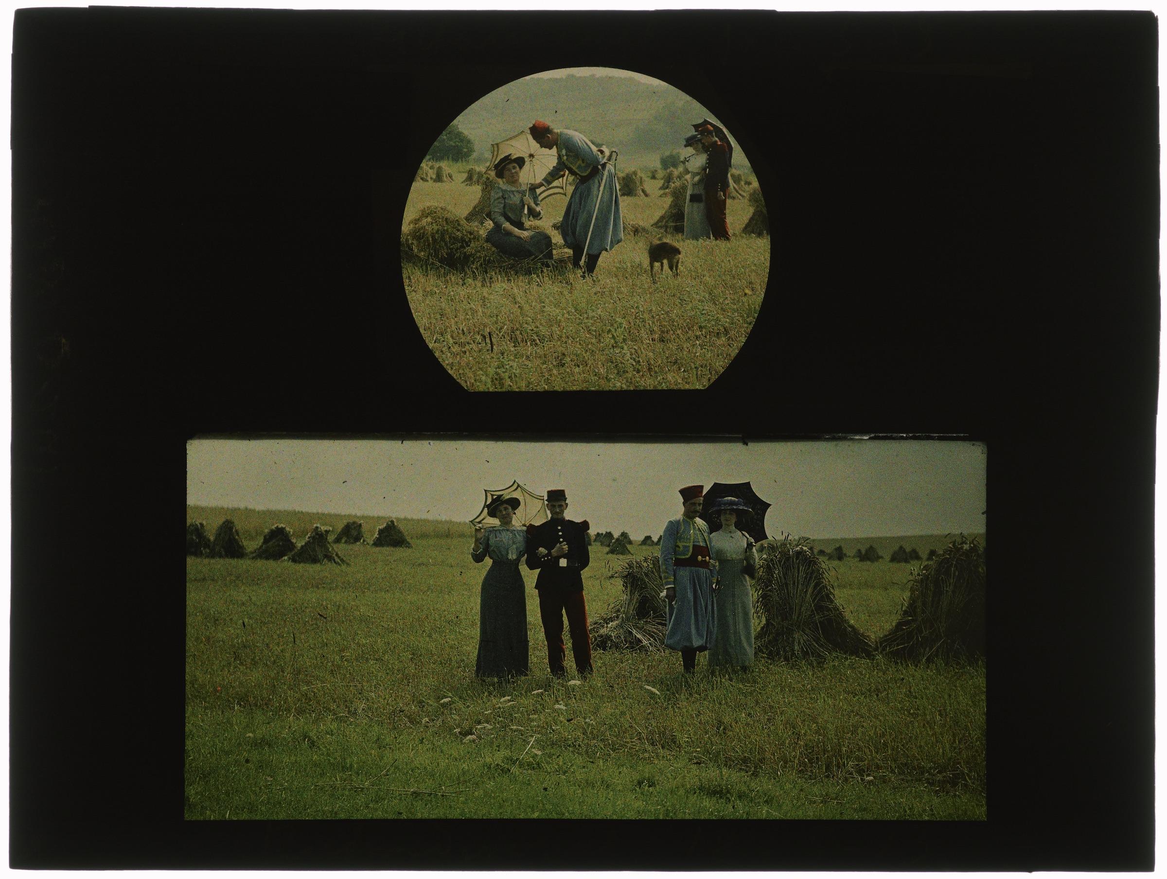 Deux couples d'amoureux dans les champs