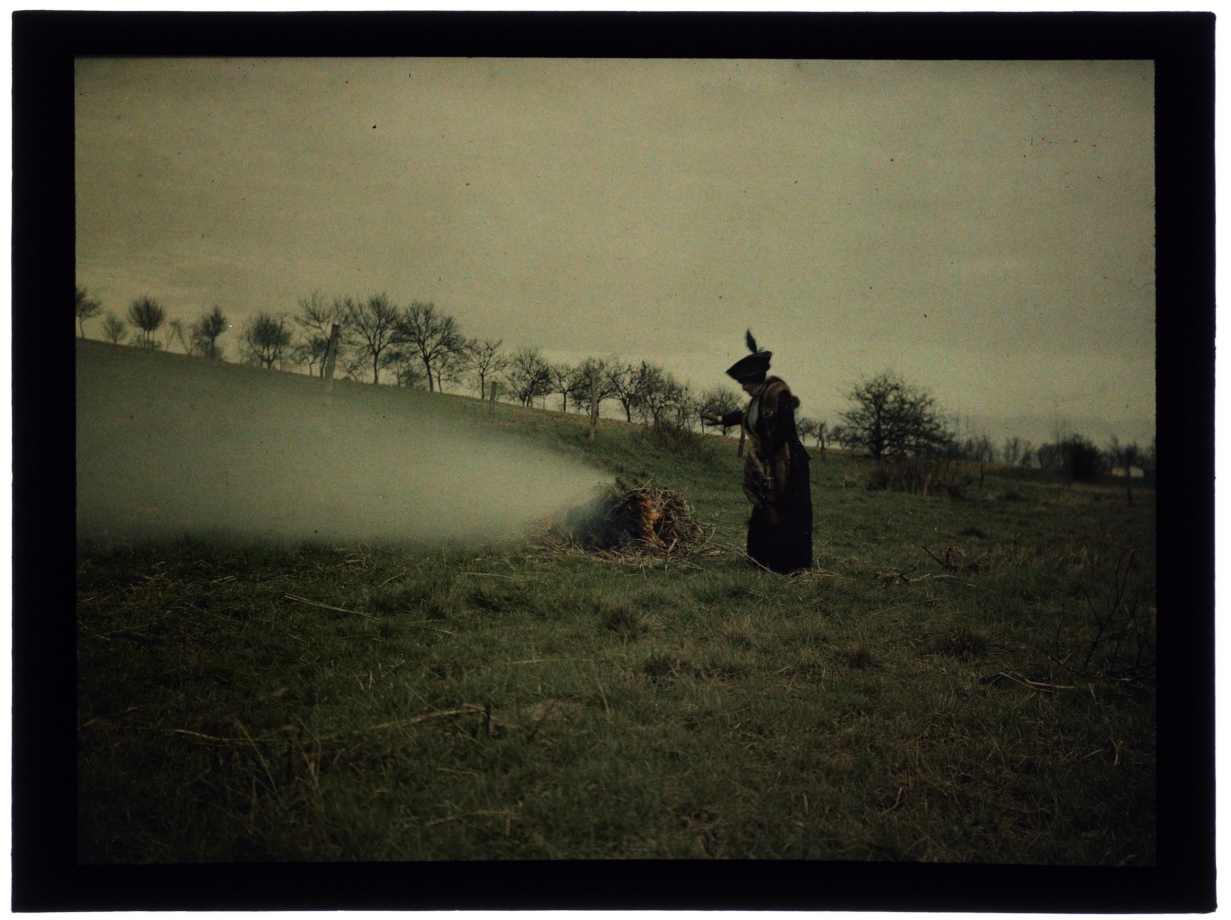 Femme dans la campagne et la forêt