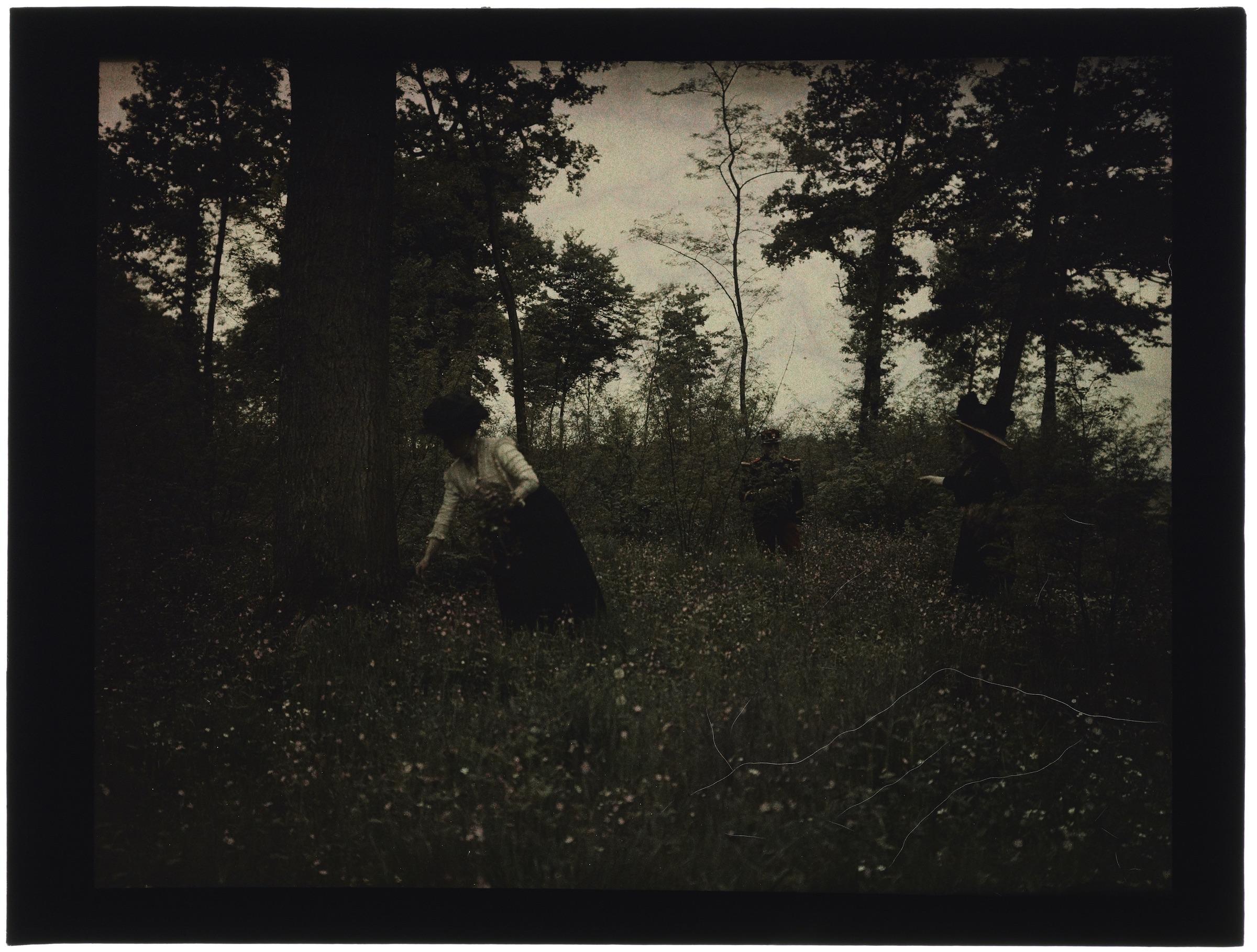 Deux femmes en forêt avec un soldat
