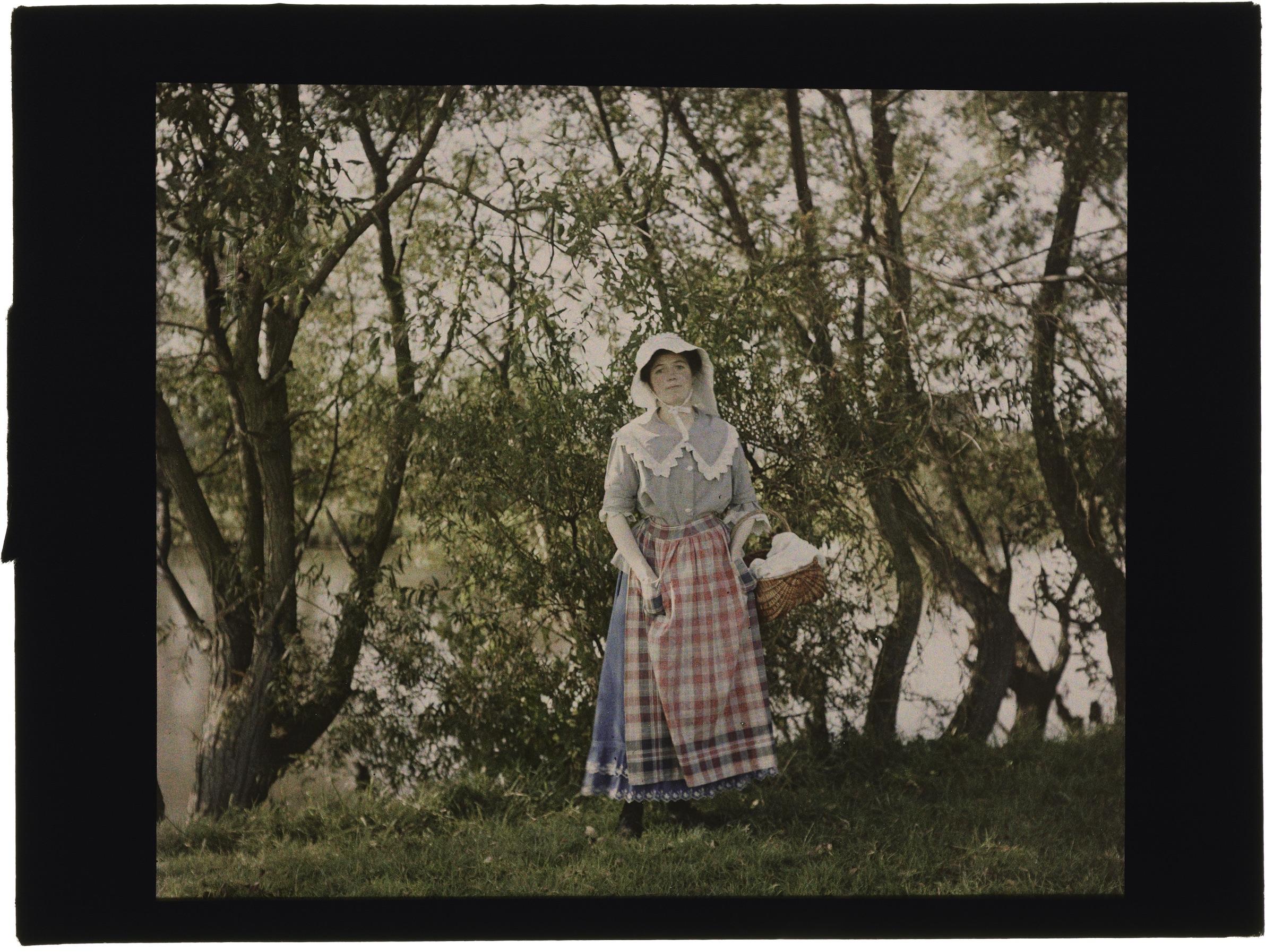 Femme dans la forêt et les champs