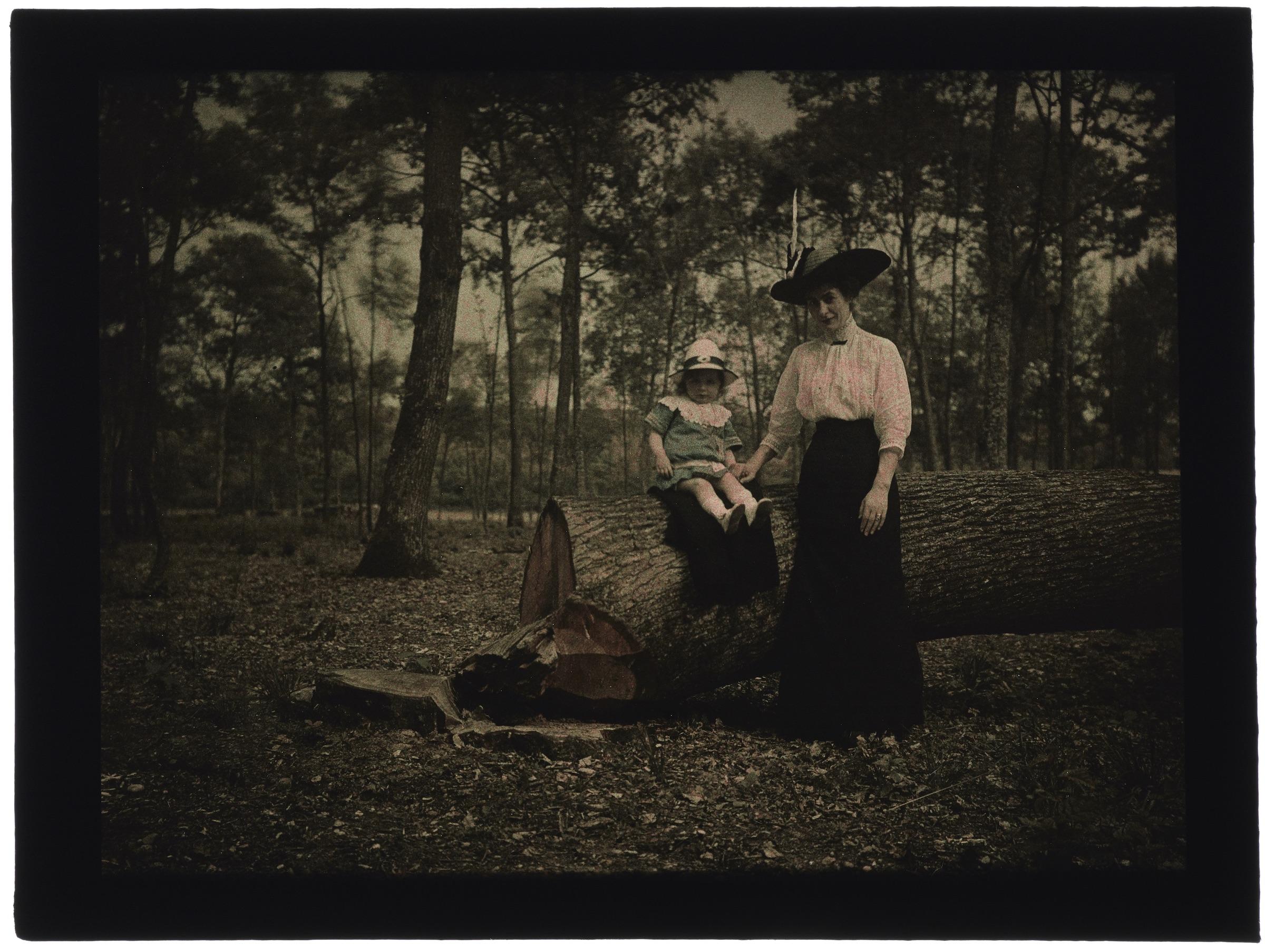 Femme et une petite fille assise sur un tronc d'arbre